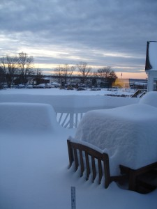 Be cautious on decks- the snow can be very, very heavy!