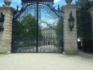 "The iron gates of ""The Breakers"" in Newport."