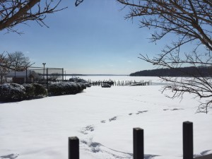 The frozen Potomac River.