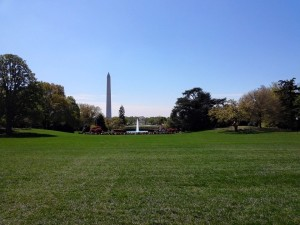 Looking from the White House south lawn at the Washington monument. This is also where the famous Easter Egg Roll Party happens the Monday after Easter.