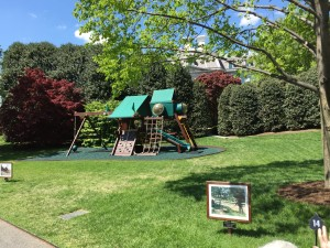 The first daughter's swingset is right outside the Oval office.