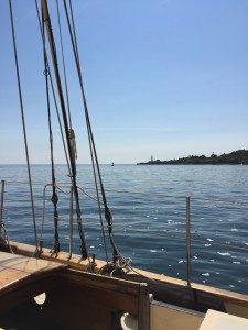 "Out on Casco Bay in a 1928 Sailboat, the ""Bagheera"""