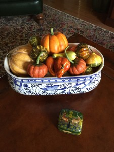 My collection of paper mache gourds are used to fill all kinds of containers which I use on tabletops and as centerpieces. Whenever I see new gourd varieties this collection grows!
