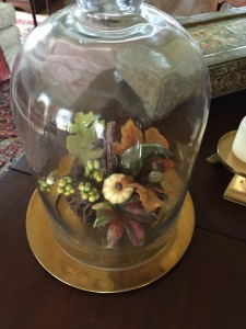 A grapevine pumpkin with a spray of fall leaves and berries under a garden cloche sits on the coffee table.