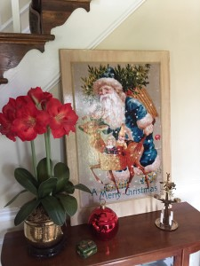 The entry foyer with amaryllis flowers and my favorite Santa and angel chimes.