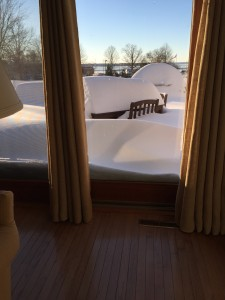 Opening the drapery and finding more than 30 inches of snow from winter storm Jonas.