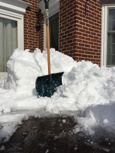 Deep snow is extremely heavy 7 to 20 pounds/sq. ft. Try to stand straight while shoveling, and lift with your legs.