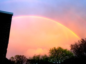 Don't forget-- April showers bring May flowers! Here's a rainbow from the back deck from our last April shower-